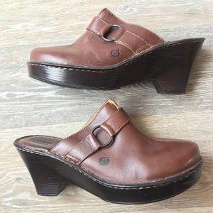 Brown Leather Wedge Clog Slip On